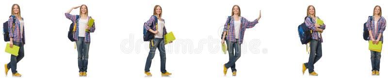 A colagem do estudante fêmea novo no branco imagens de stock royalty free