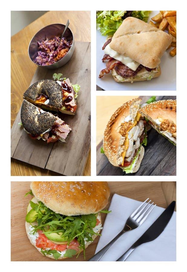 Colagem do fast food fotos de stock royalty free