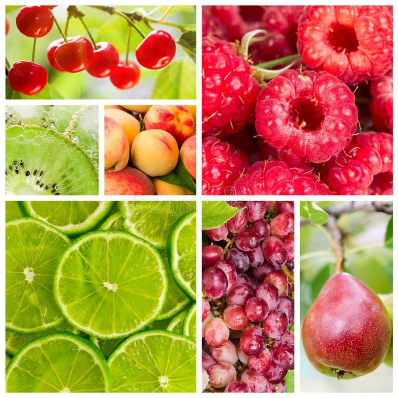 Colagem do fruto e das bagas foto de stock royalty free