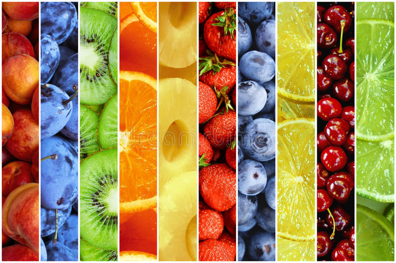 Colagem do fruto fresco do verão sob a forma das listras verticais fotos de stock royalty free
