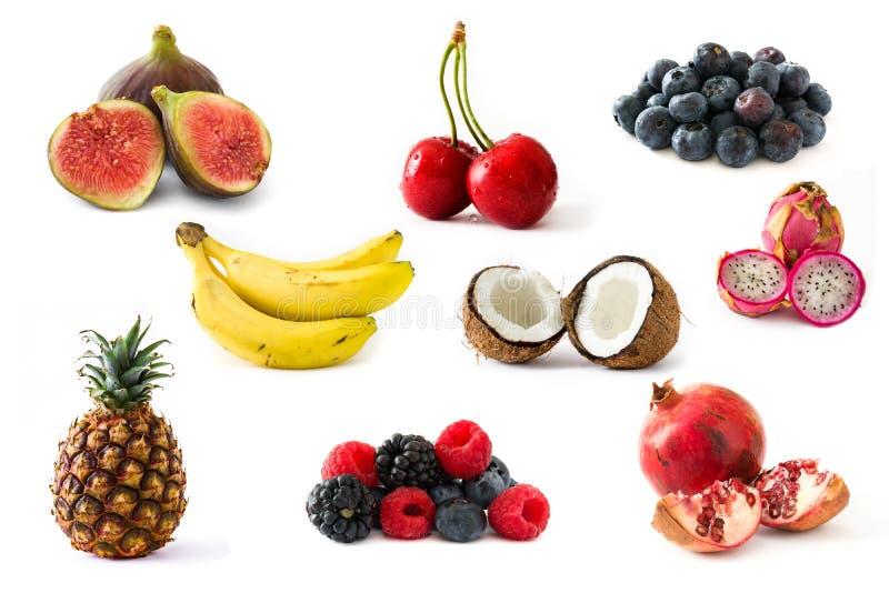 Colagem do fruto isolada imagens de stock