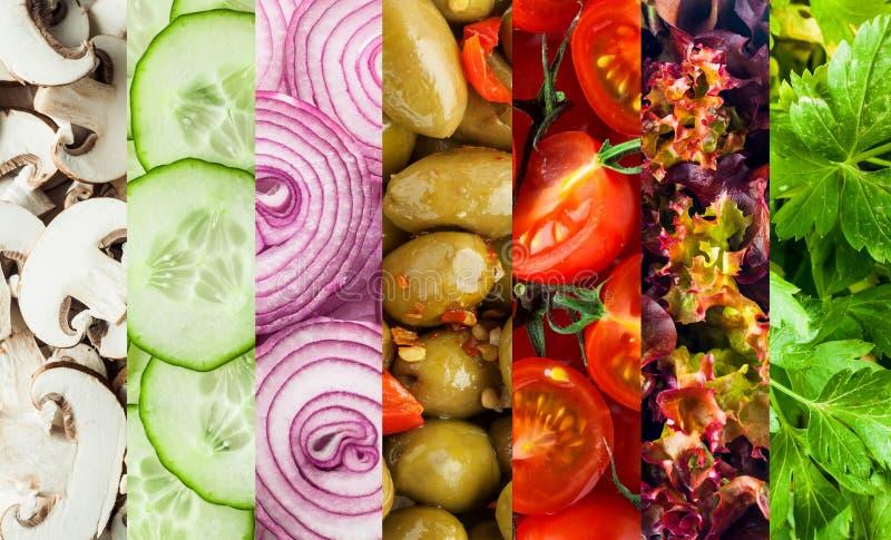 Colagem do fundo de legumes frescos cortados fotografia de stock