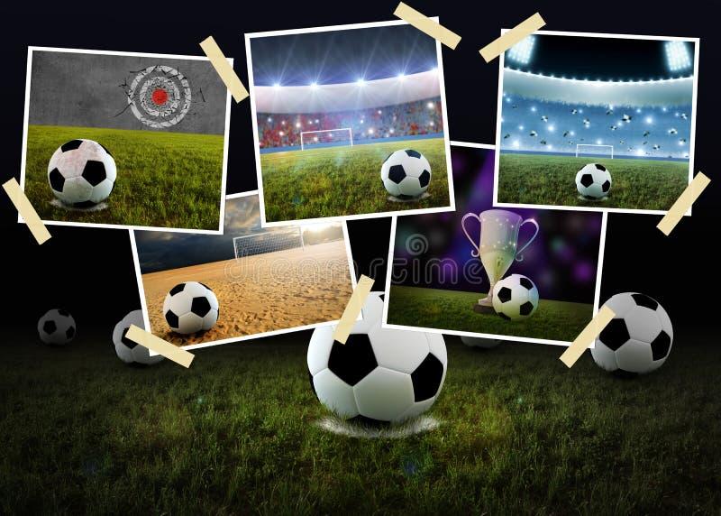 Colagem do futebol ilustração do vetor