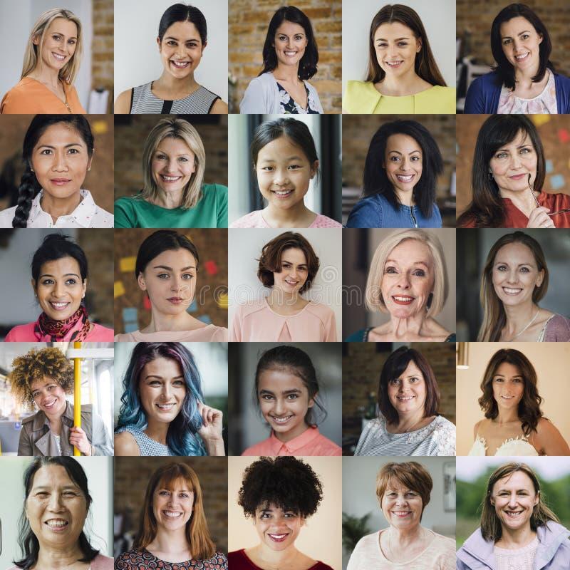 Colagem do Headshot das fêmeas imagens de stock royalty free