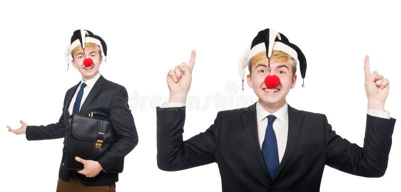 A colagem do homem de negócios do palhaço isolada no branco imagem de stock