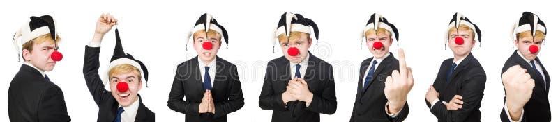 A colagem do homem de negócios do palhaço isolada no branco fotos de stock royalty free