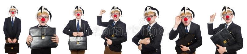 A colagem do homem de negócios do palhaço isolada no branco imagem de stock royalty free