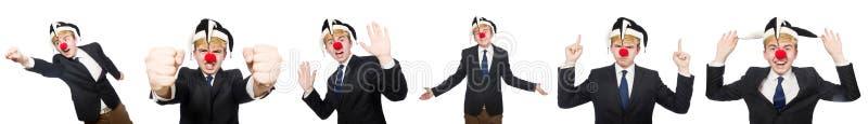 A colagem do homem de negócios do palhaço isolada no branco fotografia de stock
