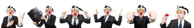A colagem do homem de negócios do palhaço no branco imagem de stock