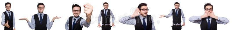 A colagem do homem de negócios engraçado no branco foto de stock royalty free