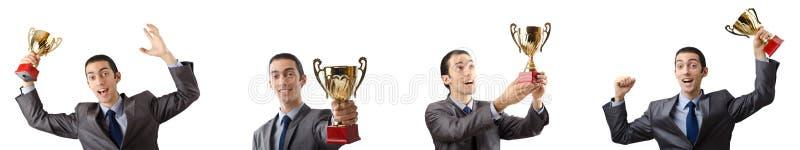 A colagem do homem de negócios que recebe a concessão foto de stock