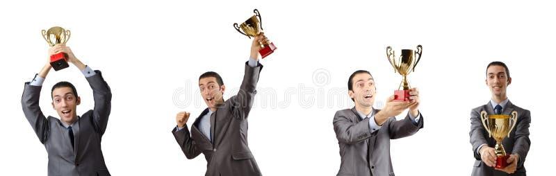 A colagem do homem de negócios que recebe a concessão foto de stock royalty free