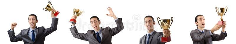 A colagem do homem de negócios que recebe a concessão fotografia de stock royalty free