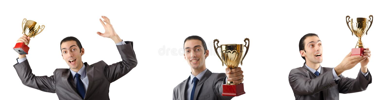A colagem do homem de negócios que recebe a concessão imagens de stock royalty free
