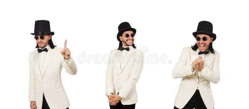 Colagem do homem novo no terno imagem de stock royalty free