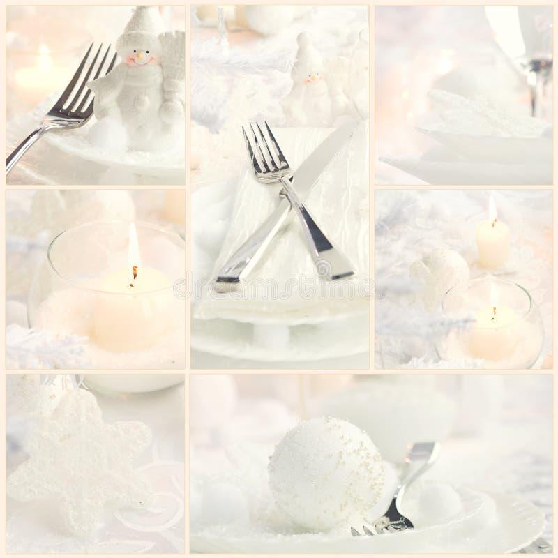 Colagem do jantar do Natal fotos de stock royalty free