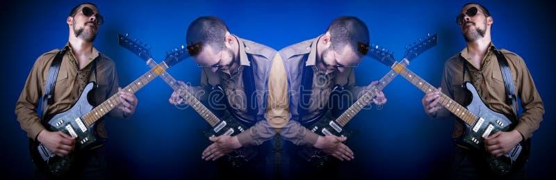 Colagem do jogador de guitarra da rocha foto de stock royalty free