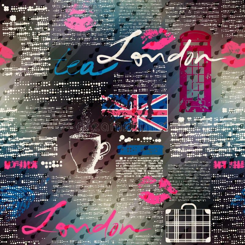 Colagem do jornal Londres do grunge com pingos de chuva ilustração do vetor