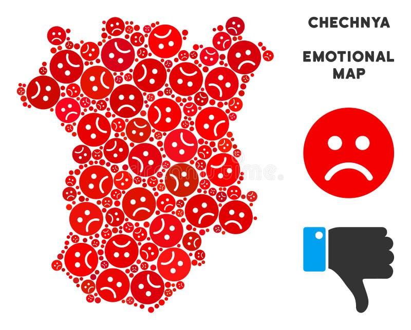 Colagem do mapa de Chechnya da crise do vetor de smiley tristes ilustração stock