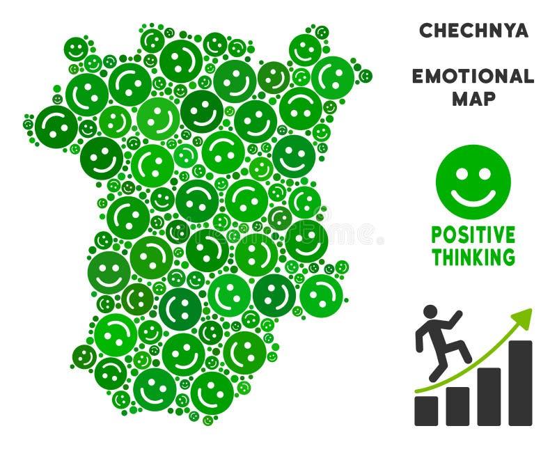 Colagem do mapa de Chechnya da felicidade do vetor dos sorrisos ilustração stock
