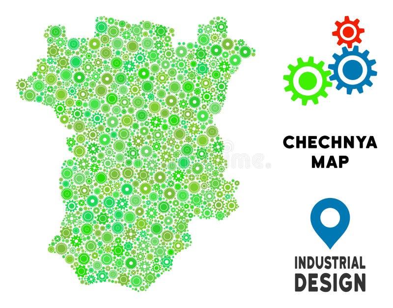 Colagem do mapa de Chechnya das engrenagens ilustração stock