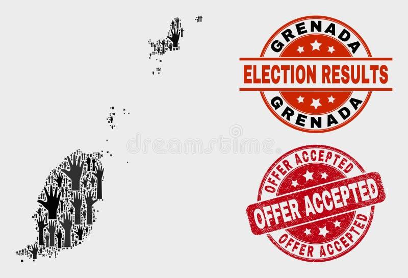 Colagem do mapa de Granada da cédula e do selo aceitado oferta riscado ilustração royalty free