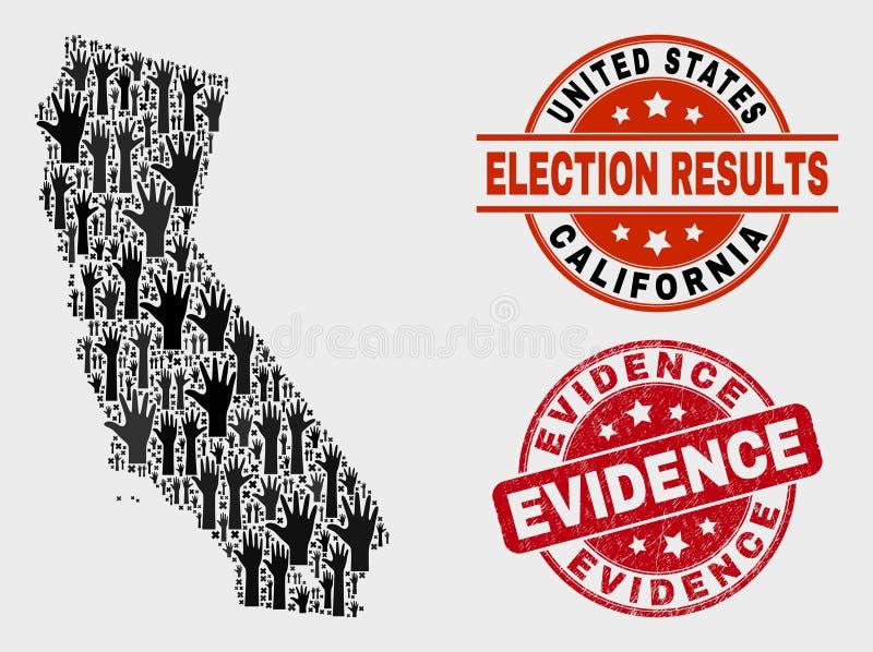 Colagem do mapa do estado de Califórnia da votação e do selo do selo da evidência da aflição ilustração royalty free