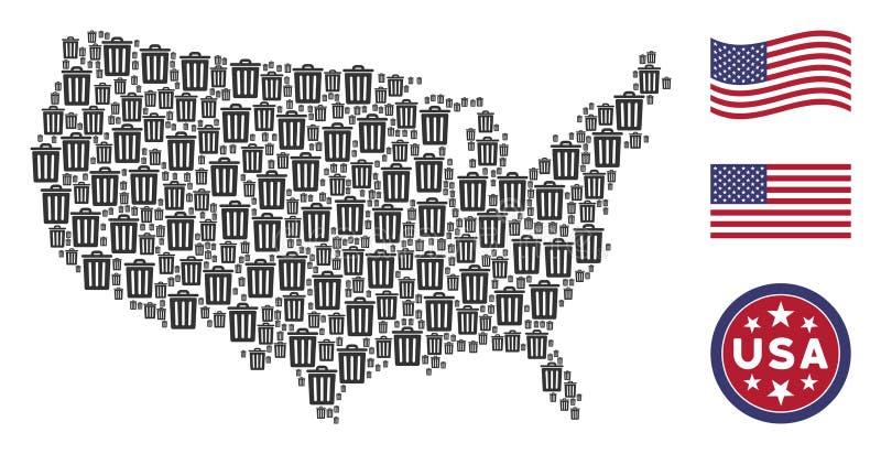 Colagem do mapa do Estados Unidos do escaninho de lixo ilustração do vetor