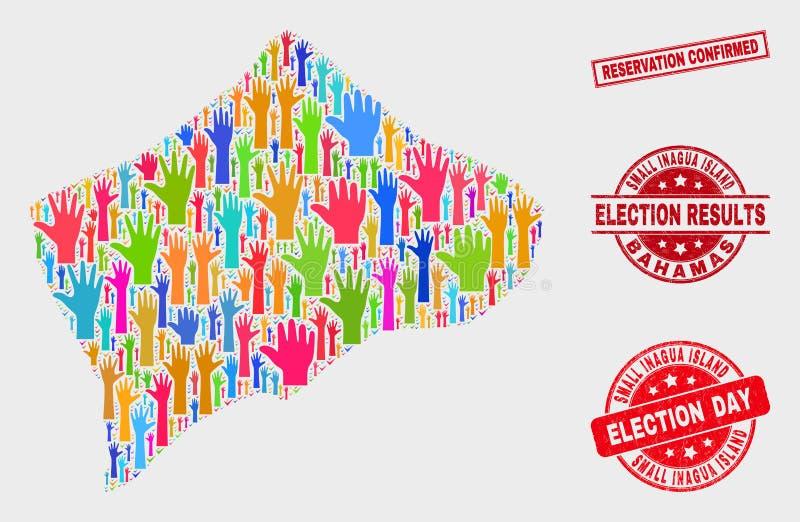 Colagem do mapa pequeno eleitoral da ilha de Inagua e da filigrana confirmada reserva riscada ilustração stock