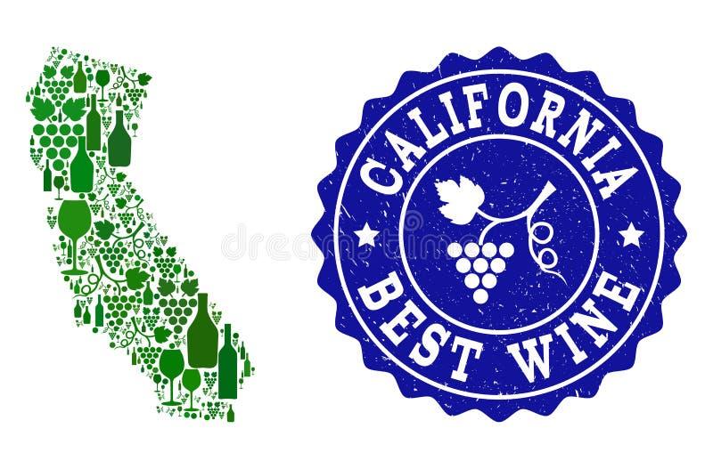 Colagem do mapa do vinho da uva de Califórnia e da melhor filigrana do Grunge do vinho ilustração stock