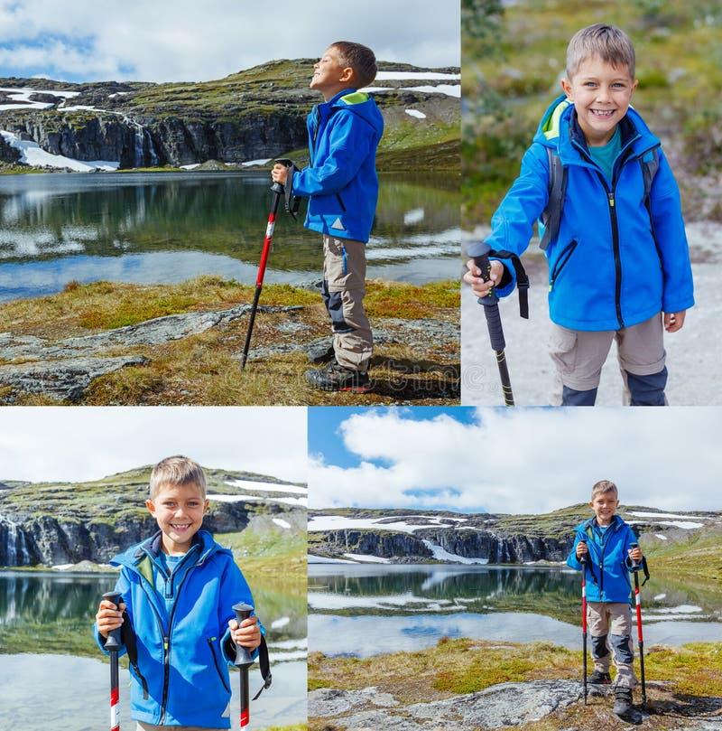 Colagem do menino bonito das imagens com caminhada do equipamento nas montanhas foto de stock royalty free