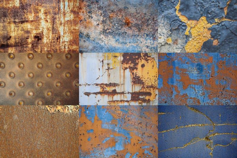 Colagem do metal oxidado Textura do fundo do ferro danificado velho riscado imagens de stock royalty free