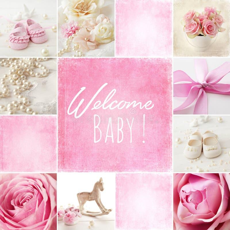 Colagem do nascimento do bebê foto de stock