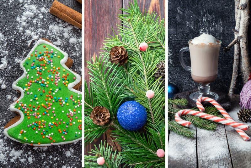 Colagem do Natal com imagens festivas fotos de stock