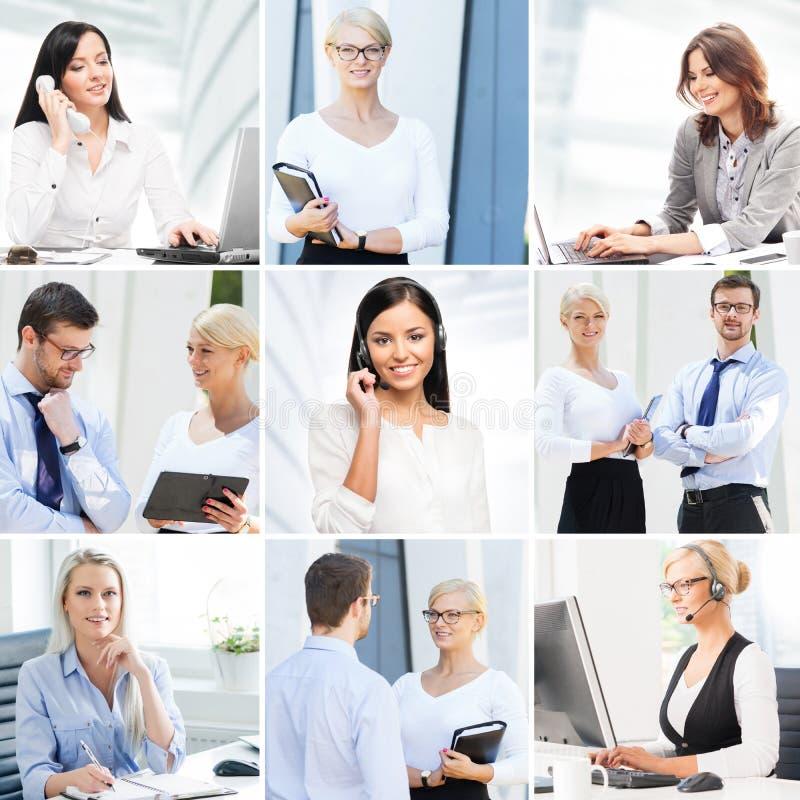 Colagem do negócio Coleção das fotos sobre uma comunicação e trabalhadores de escritório imagens de stock