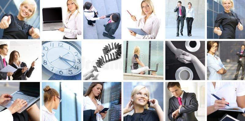 Colagem do negócio das imagens com povos fotografia de stock