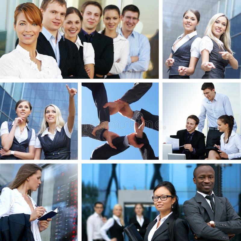 Colagem do negócio feita de retratos do negócio imagem de stock