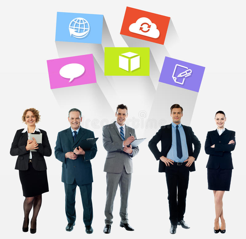 Colagem do negócio, os ícones os mais atrasados da tecnologia fotografia de stock royalty free