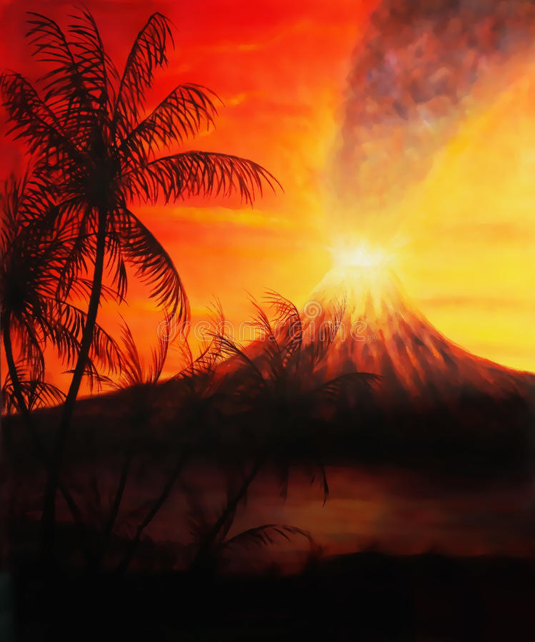 Colagem do projeto gráfico com palmeiras e vulcão no fundo na atmosfera do por do sol imagens de stock royalty free
