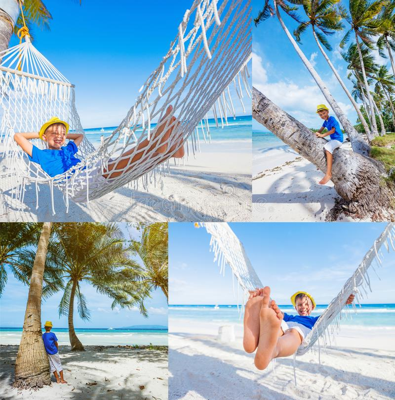 Colagem do rapaz pequeno das imagens que relaxa em uma praia tropical na rede foto de stock