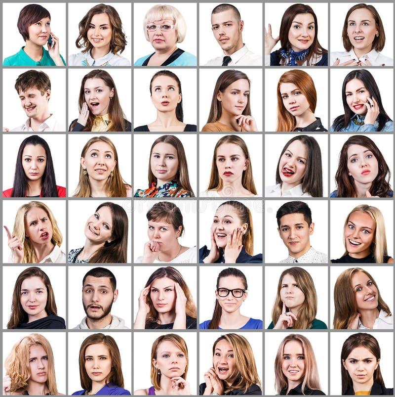 Colagem do retrato de muitas caras de sorriso imagem de stock royalty free