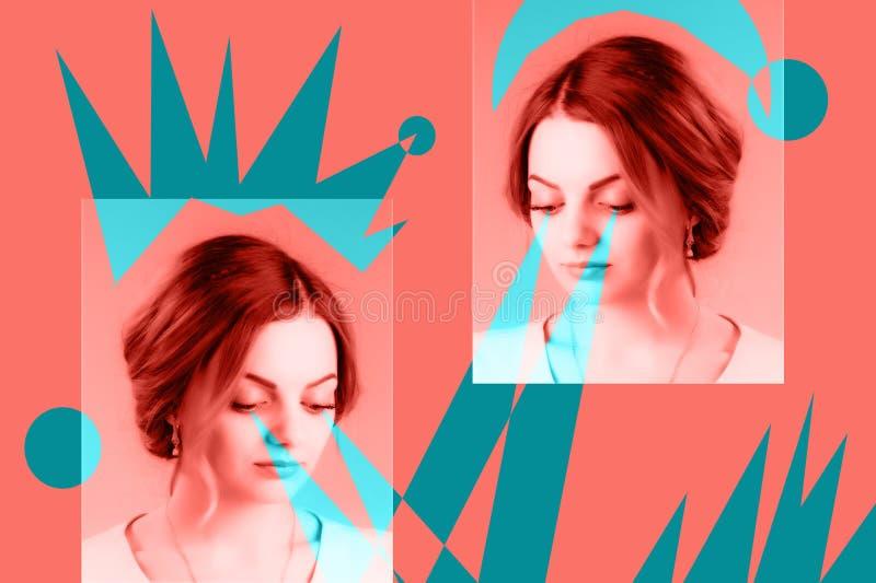 Colagem do sum?rio do cartaz da arte contempor?nea com mulher atrativa Conceito de projeto m?nimo Arte moderna ilustração do vetor