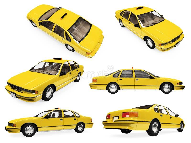 Colagem do táxi amarelo isolado ilustração royalty free