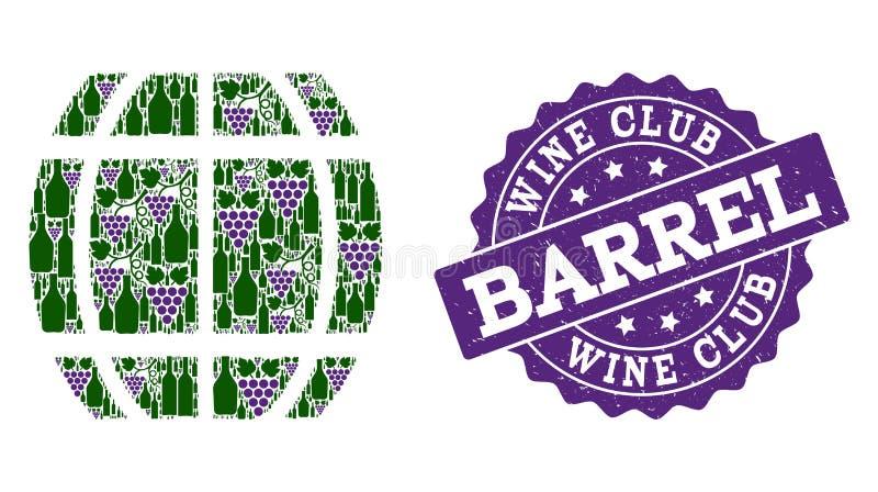 Colagem do tambor de garrafas de vinho e de uva e de selo do Grunge ilustração royalty free