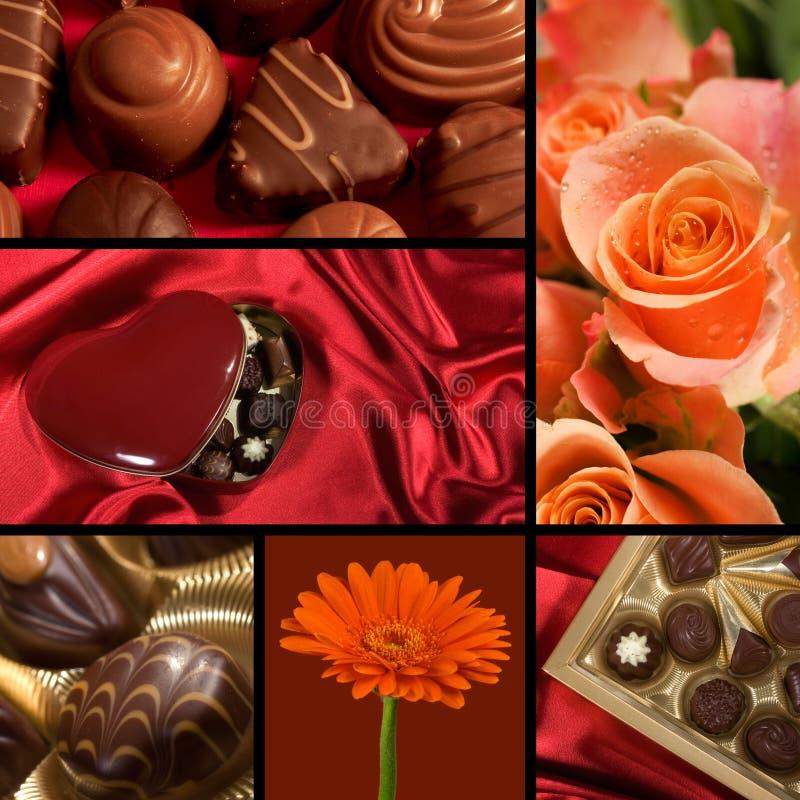 Colagem do tema do Valentim fotografia de stock royalty free