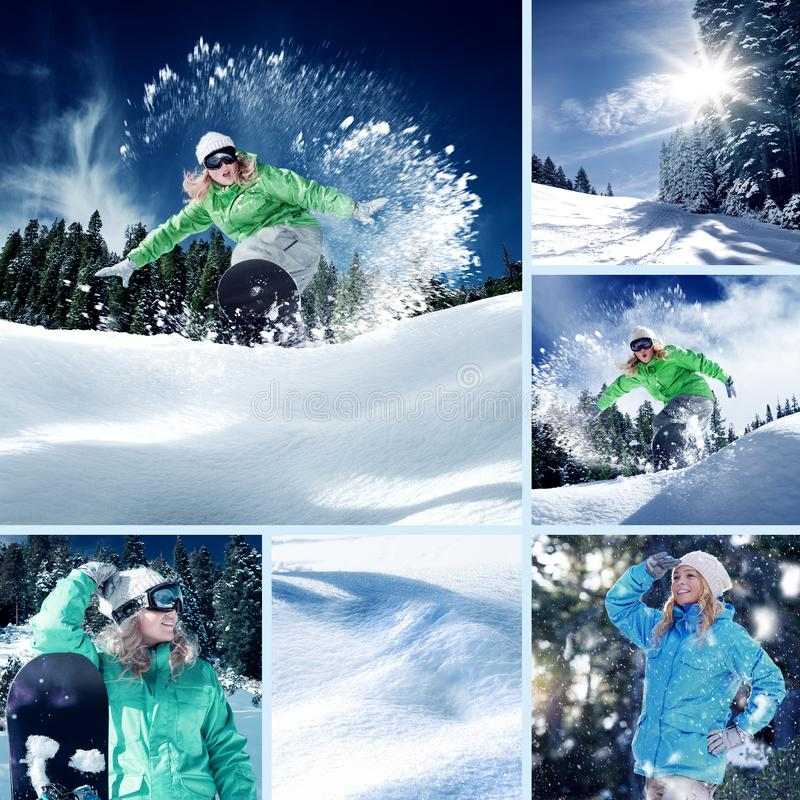 Colagem do tema do Snowboarder fotos de stock royalty free