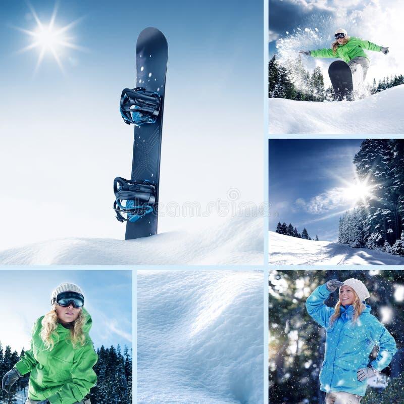 Colagem do tema do Snowboarder composta imagens de stock royalty free