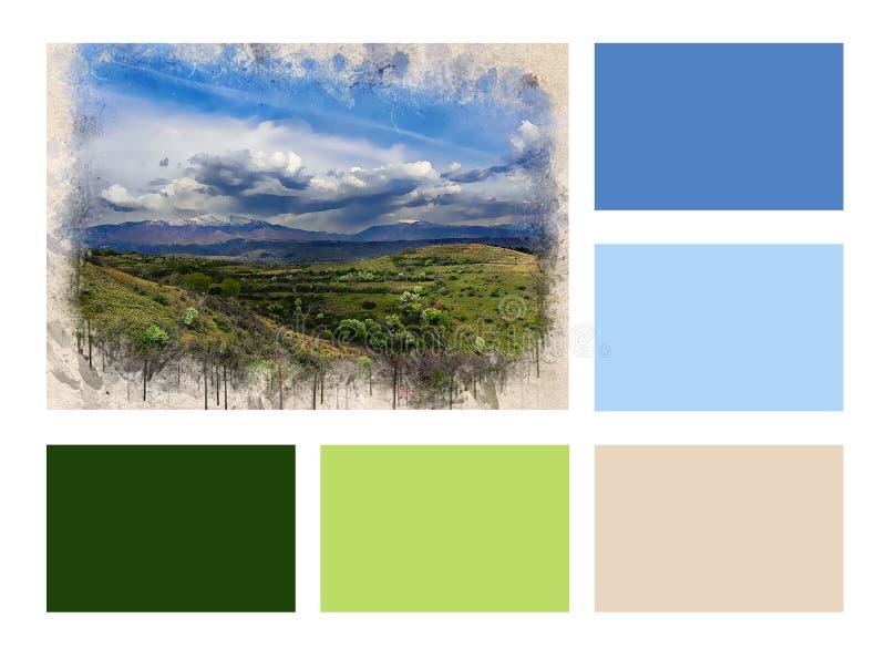 Colagem do vale verde bonito pintado aquarela e de retângulos coloridos ilustração do vetor