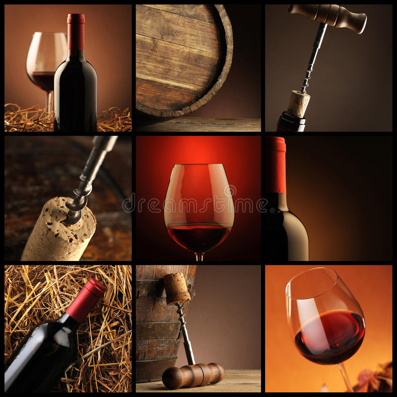 Colagem do vinho imagens de stock royalty free
