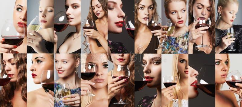 Colagem do vinho da bebida das mulheres meninas com álcool fotos de stock